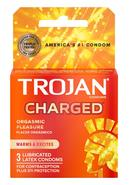Trojan Intensified Charged Orgasmic Pleasure Condoms 3pk